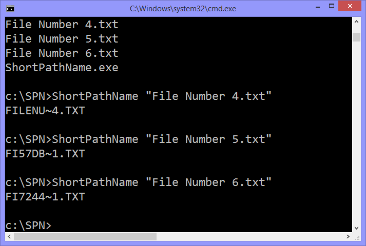 The Windows Command Prompt with an example of some short file names,