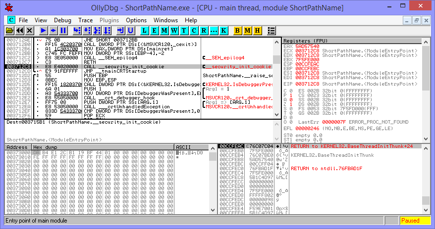 A view of the disassembled executable and processor registers inside OllyDbg.