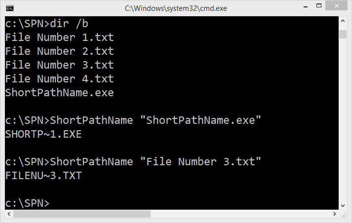 The Windows Command Prompt with an example of using ShortPathName.exe to get the short path name of a file,